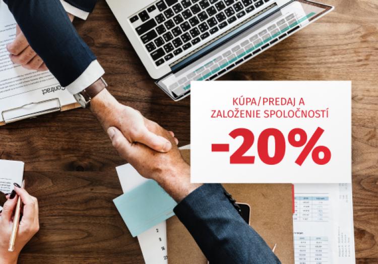 Predaj, kúpa a založenie spoločností - Zľava 20%